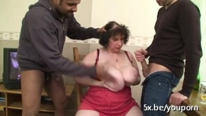 French granny Ginette fucked in threesome
