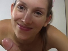 POV Nurse strokes and sucks and slides her pussy on your cock