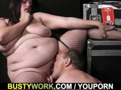 Picture Plumper in fishnets rides her older boss coc