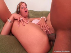 Busty slut rides Shorty's cock