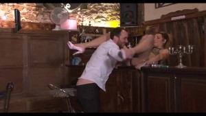 Old house keeper catches young couple and joins in - Java Productions