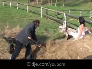 Older Old Man Outdoor Fuck video: Peasant old fart fucking his younger wife in the stack
