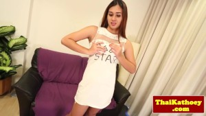 Young ladyboy shows her tight butthole