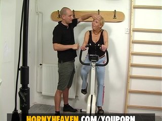 German Amateur Blonde video: Grandma Fuck Her Fitness Trainer
