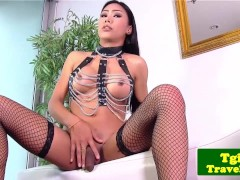 Asian tgirl Melissa shows kinky lingerie