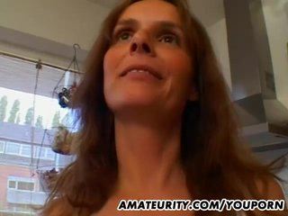 Big Tits Blowjob Busty video: Hot amateur Milf gets fucked in her kitchen