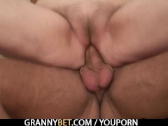 : Old grandma rides his hard meat