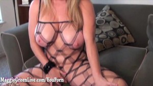 Big Tit Maggie Fucks In Body Stocking!