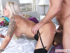 Busty wife Nina Elle riding a big dong