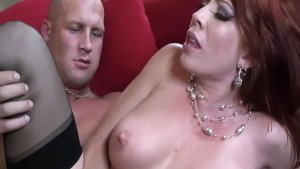 Busty milf fucked in nylons and a garter belt
