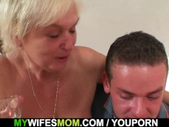Her blonde old mom and boyfriend...