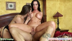Superb chicks Dani Daniels and Nikki Benz share cock