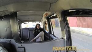 FakeTaxi Saucy brunette talks driver into sex