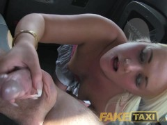 FakeTaxi Chubby blonde sucks cock for a free ride