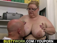 Picture Heavy lady boss rides his cock