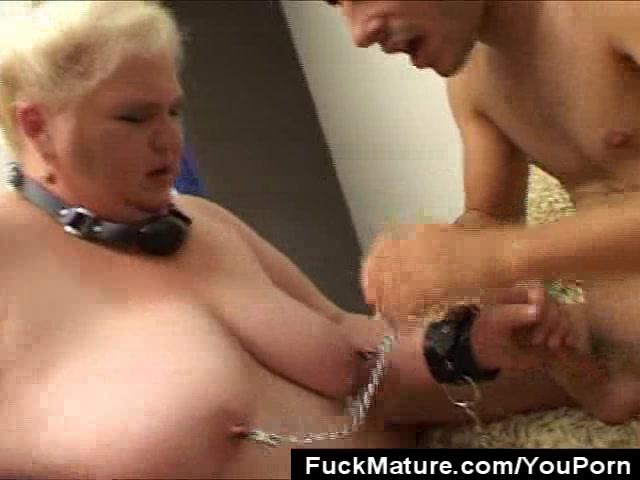 Chunky Mature Slave Cock Sucks