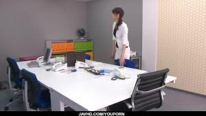 Strong office fuck along the boss forMaki Hojo