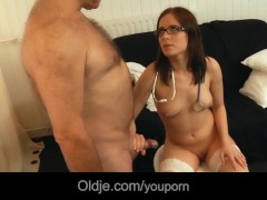 Old man rejuvanates after fucking young brunette