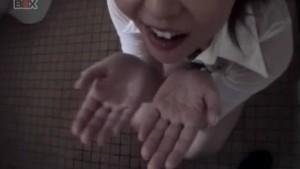 Shiori Kamiya sucks cock at toilet till gets cum in palms