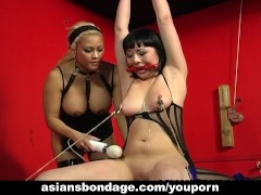 One freaky brunette is tied up and spun by her blonde master