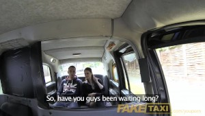 FakeTaxi Horny couple get it on in rear of cab