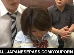 Miku Misato in school uniform gets cocks deepthroat and cum after