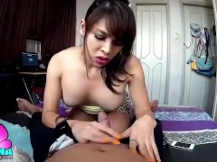 TS Filipina In Slutty Skirt Sucking Her Brother s Dick