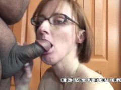 Picture Horny housewife Layla Redd is blowing a dude...