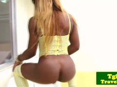 Picture Ebony transsexual Danny Cacau rubs her thick...