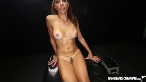 Gangbang Creampie Sexy spinner gets cum filled!