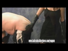 Hot dominant mistress gives bad slave dog leather glove spank and whipping