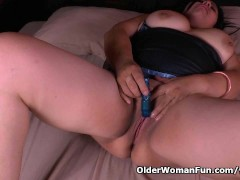 BBW milf Laura takes good care of her home and pussy