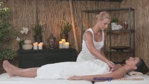 Massage Rooms Hot Czech lesbian gives big boobs brunette a serious orgasm
