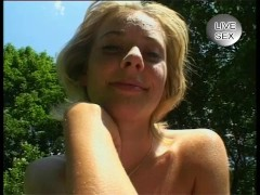 Picture Blonde babe getting off in the forest - Juli...