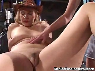 Blonde Mature video: Lesbian gf seduces older woman