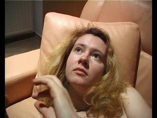 Hairy Blonde Striptease video: Blonde rubs her hairy pussy - Julia Reaves