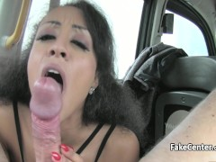 Black stockings slut fucks in taxi