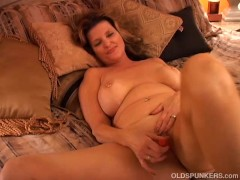 Picture Naughty MILF plays with her pussy and blows...