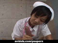 Asian nurse is sucking and titty fucking the cock