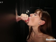 Picture Gloryhole Secrets redhead swallows 13 loads...