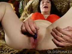 Lovely older lady fucks her soaking wet pussy for you