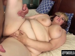 Pretty plumper Buxom Bella get her pussy filled with cock.