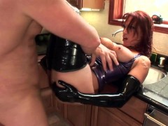 Picture Fucking in shiny latex lingerie and high hee...