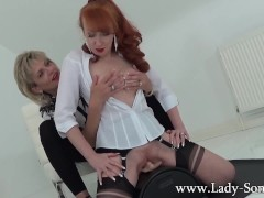Lady Sonia and Red XXX hot Lesbian sybian masturbation