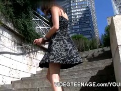 Picture Young Girl 18+ fashion model upskirt no pant...