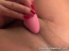Picture Granny Claire fucks herself with a dildo