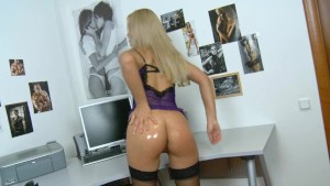 Black stockings huge dildo