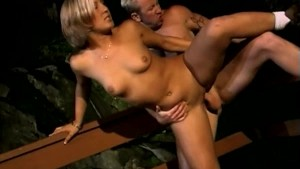Sexy Blonde Fucking and Swallowing Outdoors