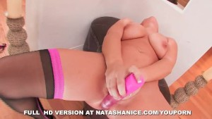 Natasha Nice jams a toy in her pussy and cums