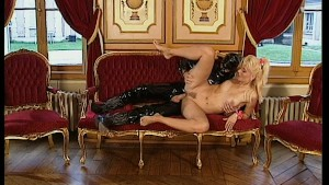 Latex man cums on her face - DBM Video